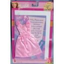 barbie ROBE rose et CARTE D'ANNIVERSAIRE tenue princesse gala 2001 Mattel 68799